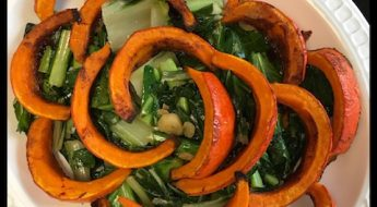 roasted red kuri squash with greens side dish